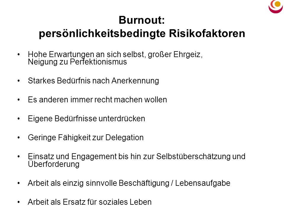 Burnout: persönlichkeitsbedingte Risikofaktoren