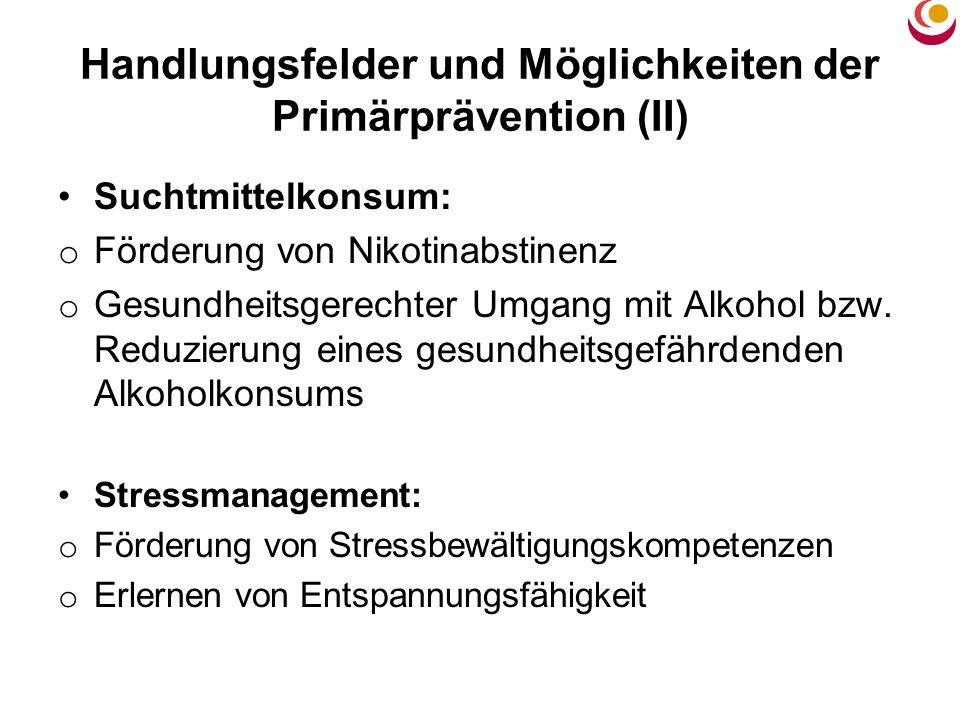 Handlungsfelder und Möglichkeiten der Primärprävention (II)