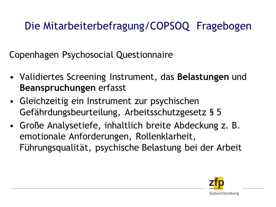 Die Mitarbeiterbefragung/COPSOQ Fragebogen