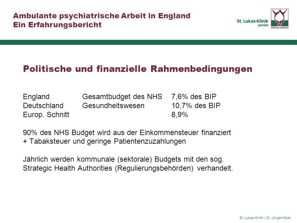 Politische und finanzielle Rahmenbedingungen