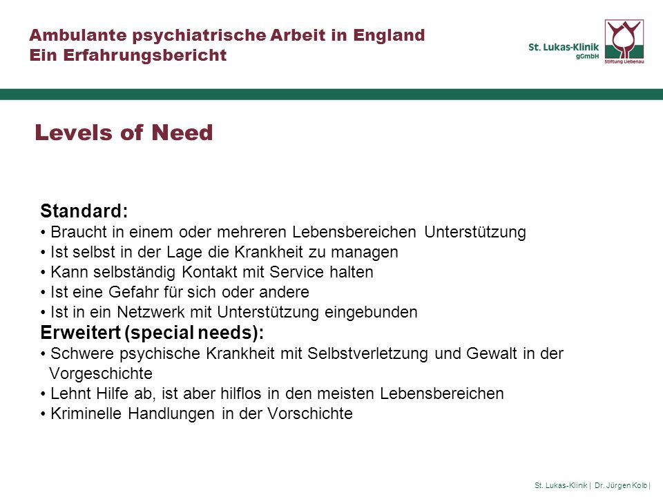 Levels of Need Standard: Erweitert (special needs):