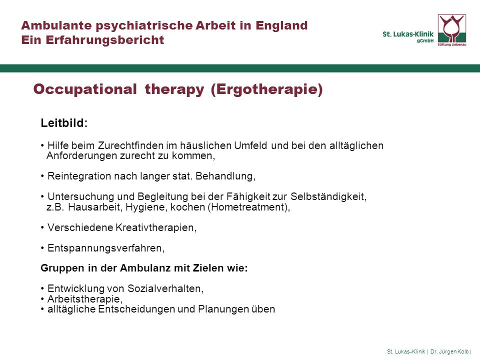 Occupational therapy (Ergotherapie)