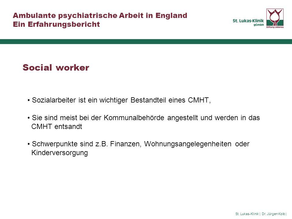 Social worker Sozialarbeiter ist ein wichtiger Bestandteil eines CMHT,