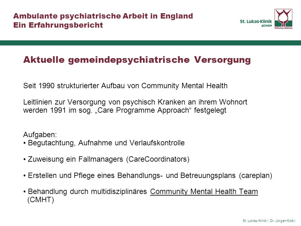 Aktuelle gemeindepsychiatrische Versorgung