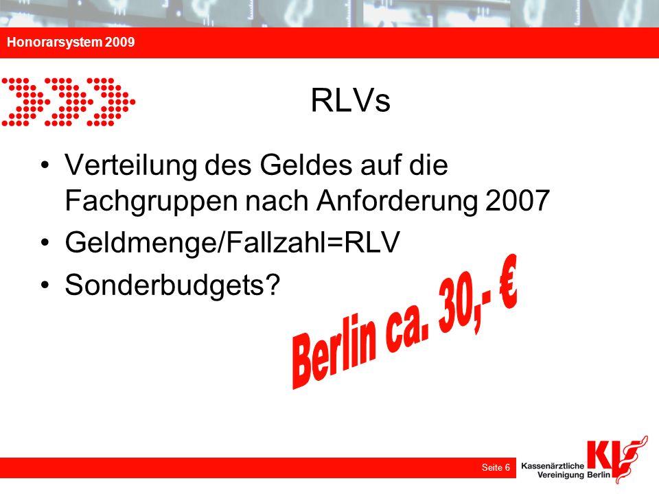 RLVs Verteilung des Geldes auf die Fachgruppen nach Anforderung 2007. Geldmenge/Fallzahl=RLV. Sonderbudgets