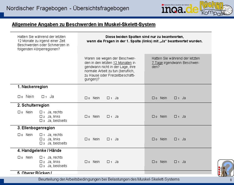 Nordischer Fragebogen - Übersichtsfragebogen