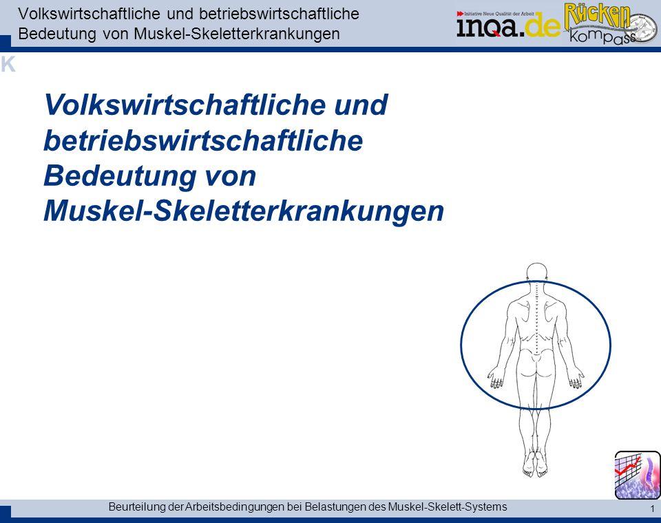 Volkswirtschaftliche und betriebswirtschaftliche Bedeutung von Muskel-Skeletterkrankungen