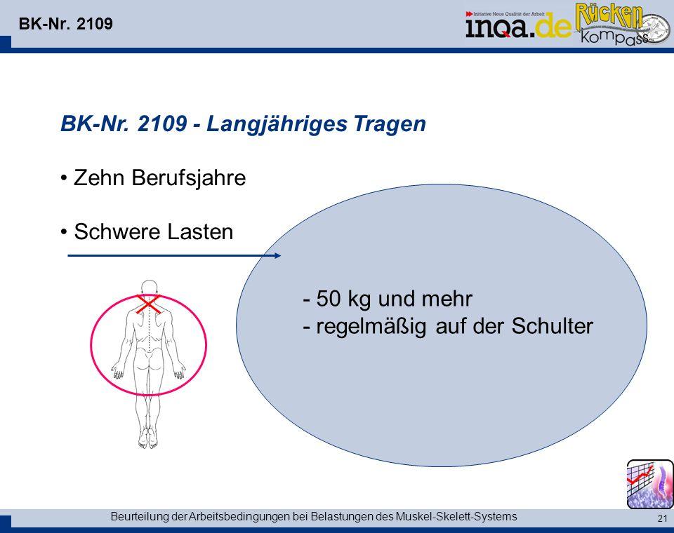 BK-Nr. 2109 - Langjähriges Tragen Zehn Berufsjahre Schwere Lasten