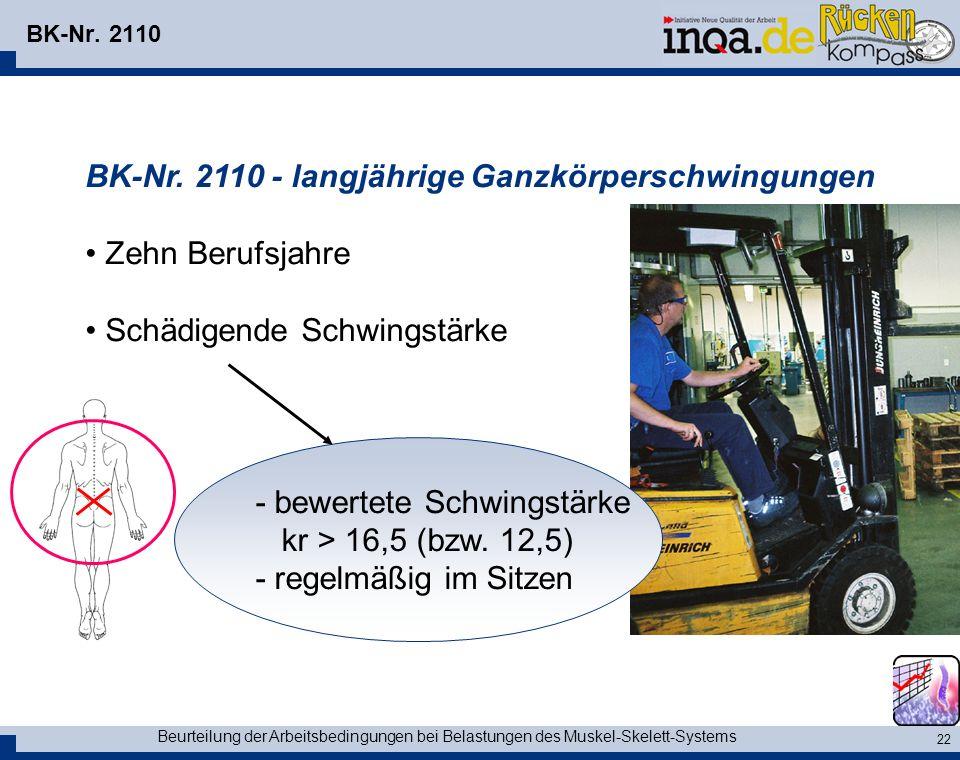 BK-Nr. 2110 - langjährige Ganzkörperschwingungen Zehn Berufsjahre