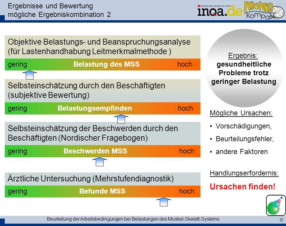 Ergebnisse und Bewertung mögliche Ergebniskombination 2
