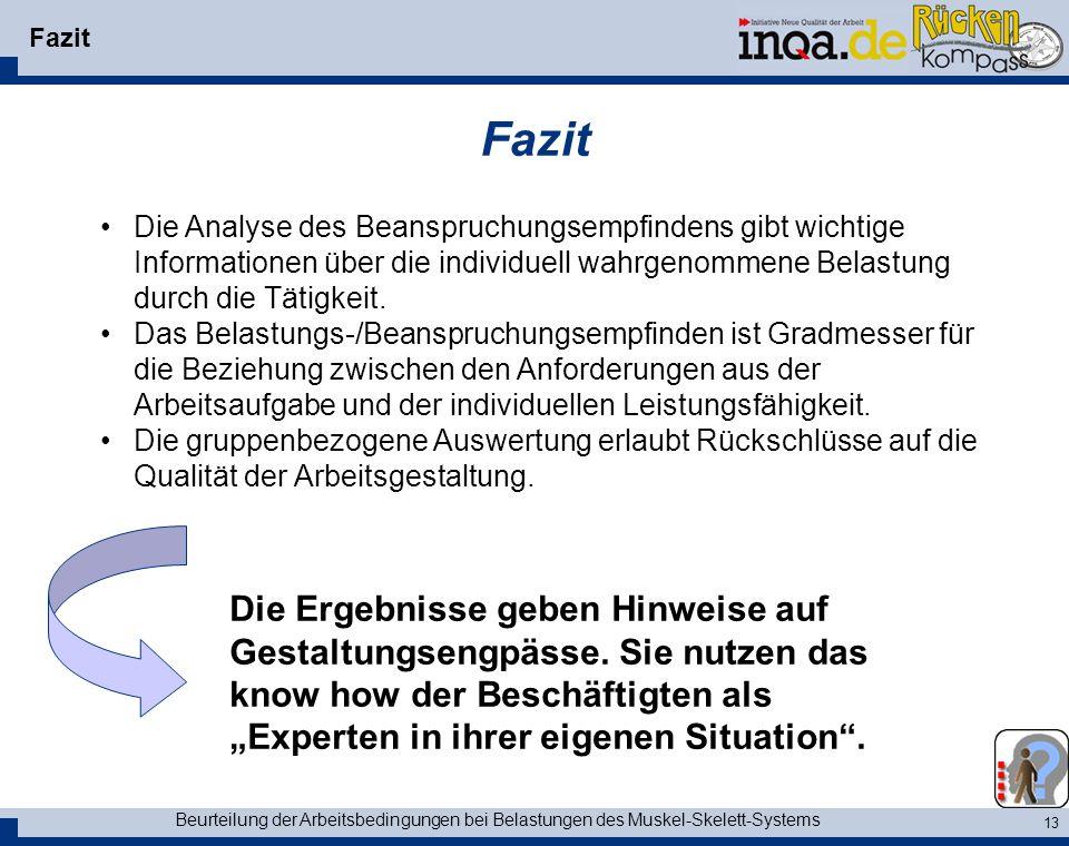 Fazit Fazit. Die Analyse des Beanspruchungsempfindens gibt wichtige Informationen über die individuell wahrgenommene Belastung durch die Tätigkeit.