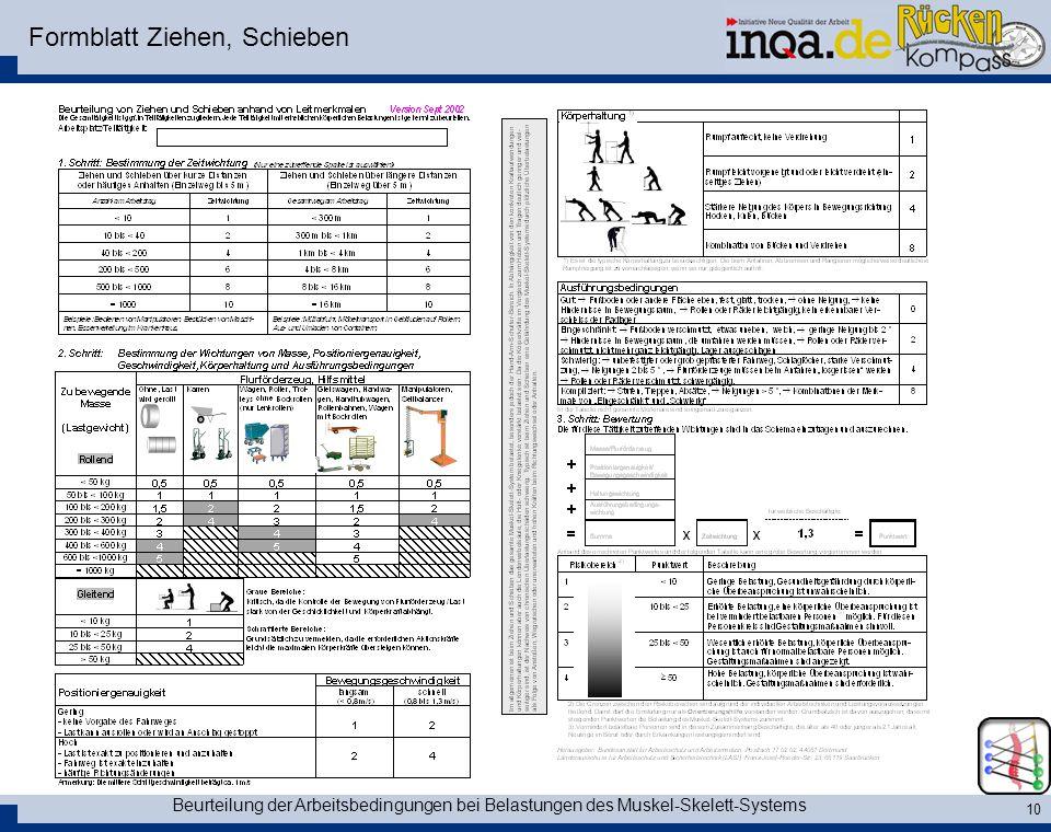 Formblatt Ziehen, Schieben