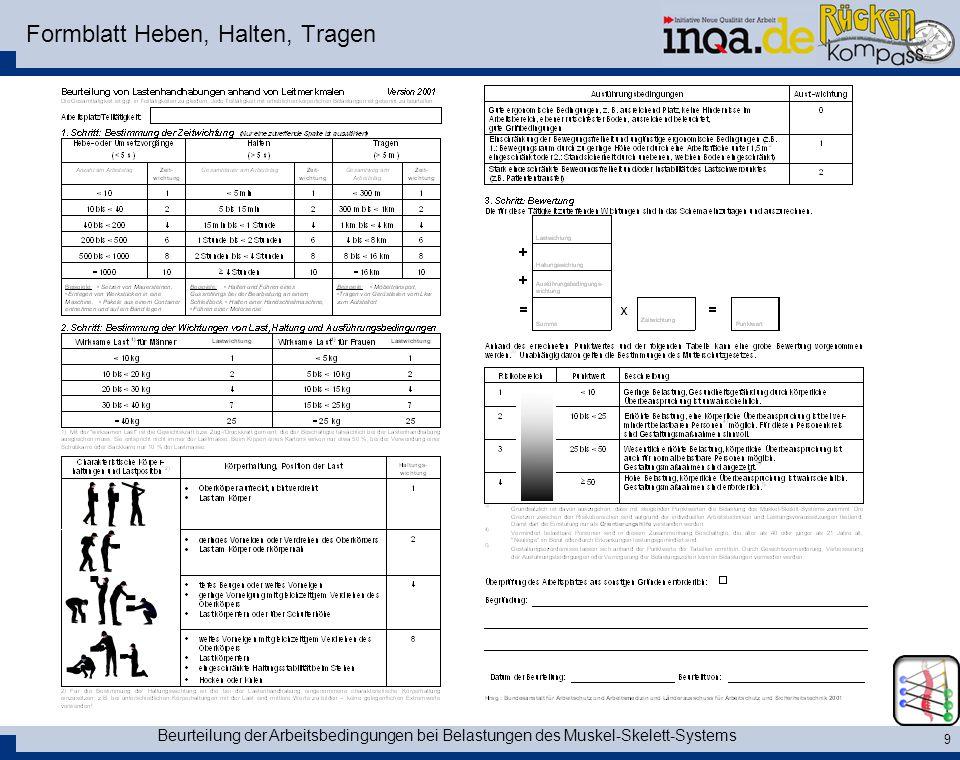 Formblatt Heben, Halten, Tragen