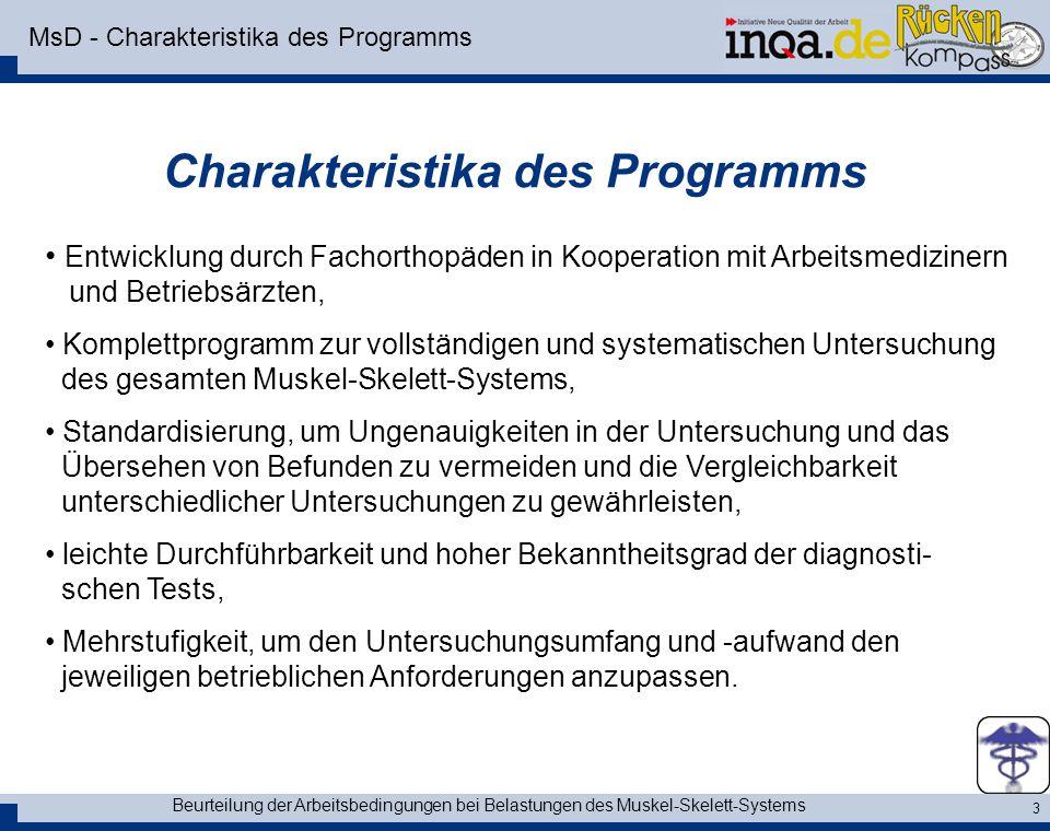 MsD - Charakteristika des Programms