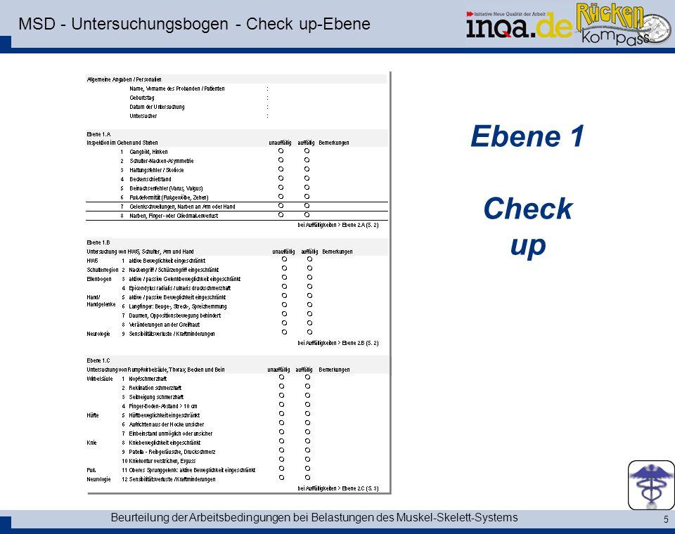 MSD - Untersuchungsbogen - Check up-Ebene
