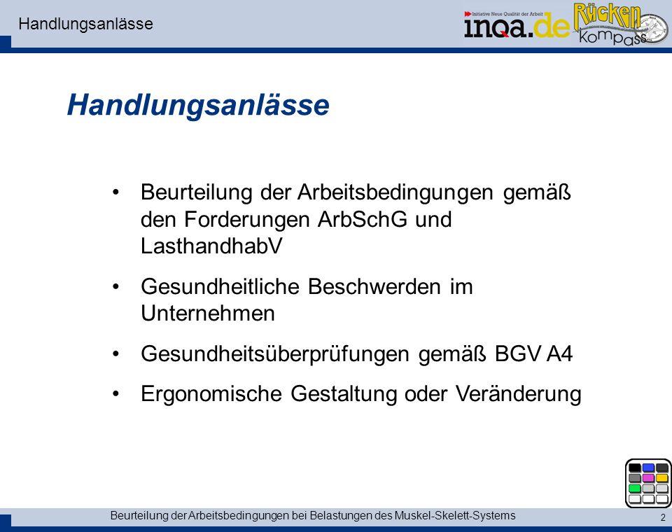 Handlungsanlässe Handlungsanlässe. Beurteilung der Arbeitsbedingungen gemäß den Forderungen ArbSchG und LasthandhabV.