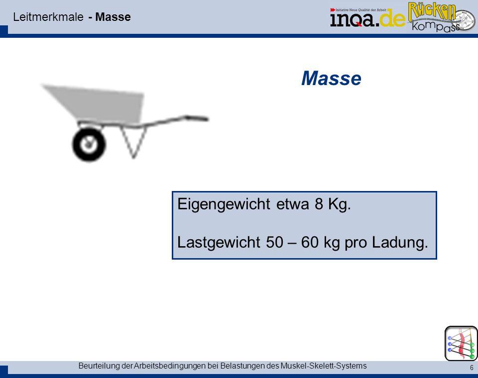 Masse Eigengewicht etwa 8 Kg. Lastgewicht 50 – 60 kg pro Ladung.