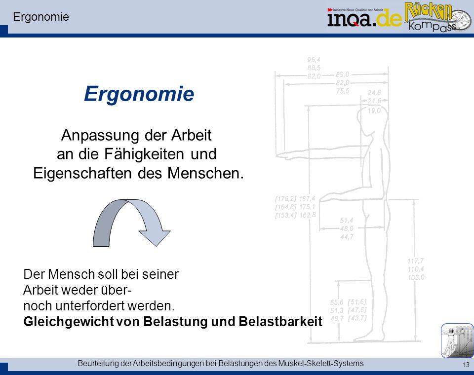Ergonomie Ergonomie. Anpassung der Arbeit an die Fähigkeiten und Eigenschaften des Menschen.