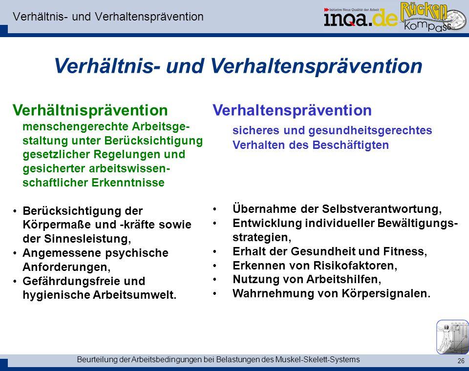 Verhältnis- und Verhaltensprävention