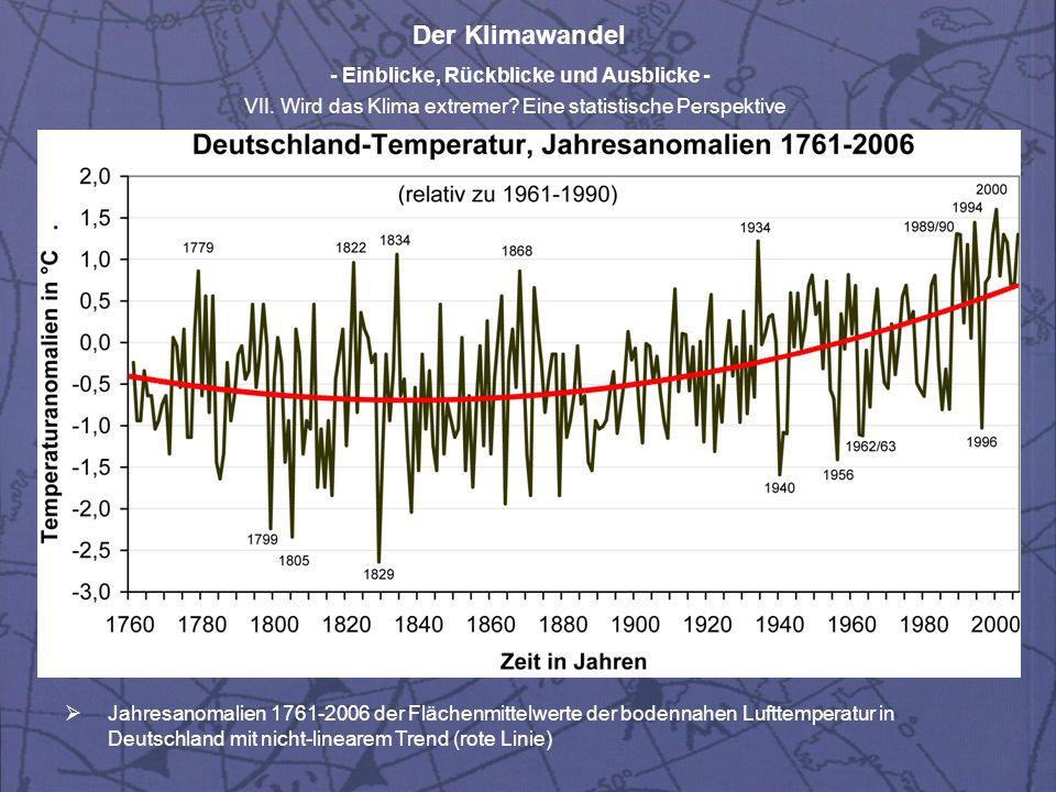 Jahresanomalien 1761-2006 der Flächenmittelwerte der bodennahen Lufttemperatur in Deutschland mit nicht-linearem Trend (rote Linie)