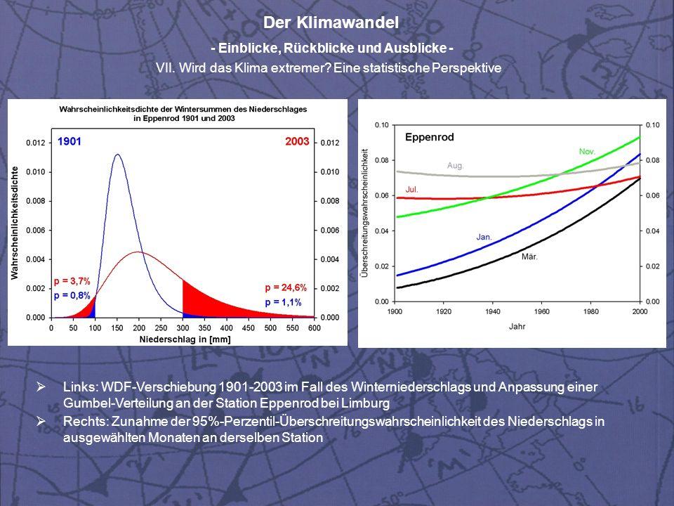 Links: WDF-Verschiebung 1901-2003 im Fall des Winterniederschlags und Anpassung einer Gumbel-Verteilung an der Station Eppenrod bei Limburg