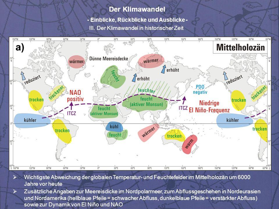 Wichtigste Abweichung der globalen Temperatur- und Feuchtefelder im Mittelholozän um 6000 Jahre vor heute
