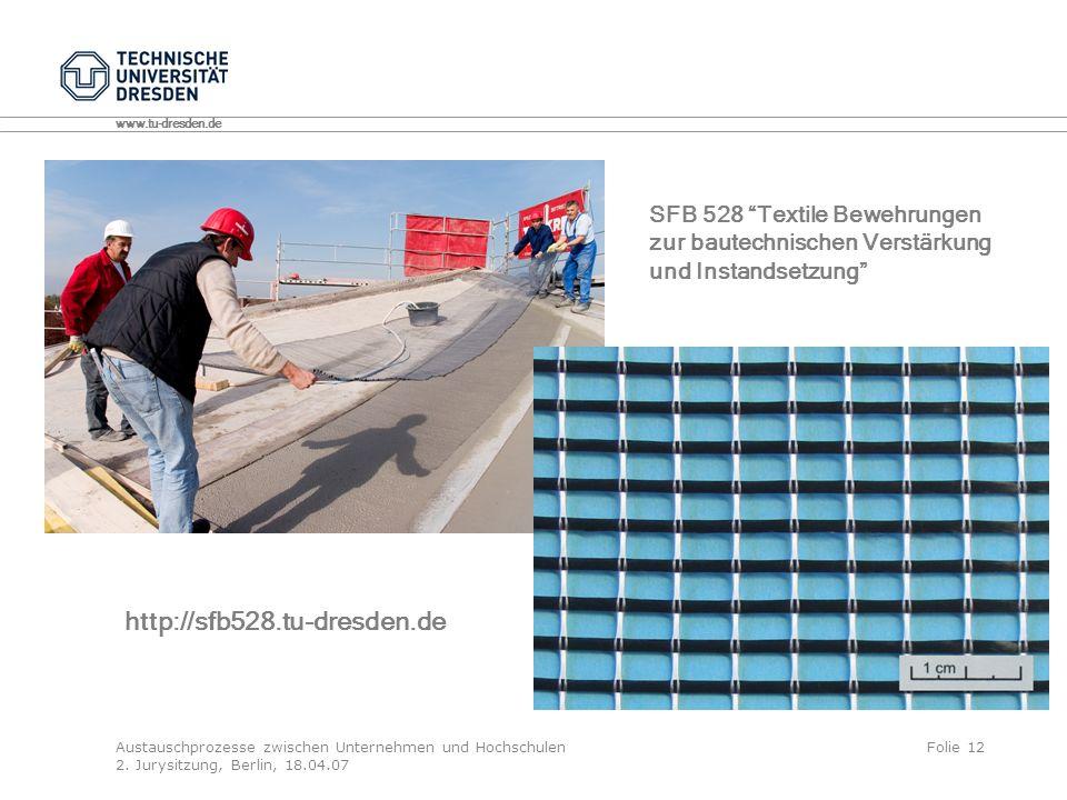 http://sfb528.tu-dresden.de SFB 528 Textile Bewehrungen
