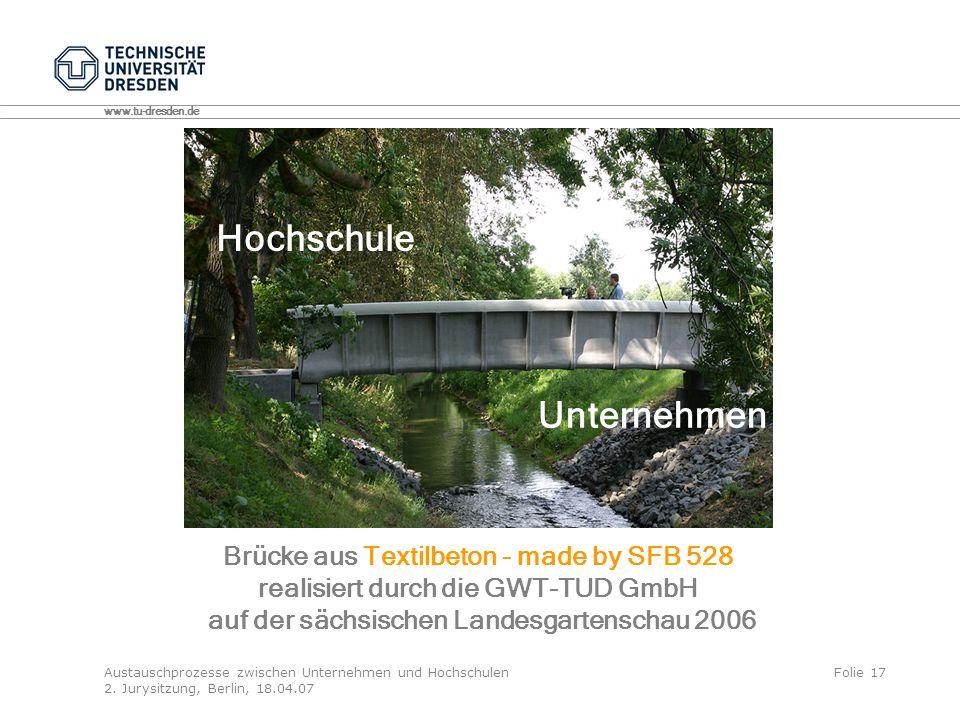 Hochschule Unternehmen Brücke aus Textilbeton - made by SFB 528