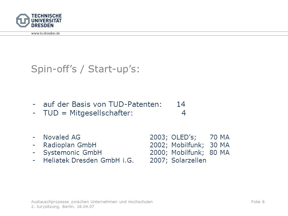 Spin-off's / Start-up's:
