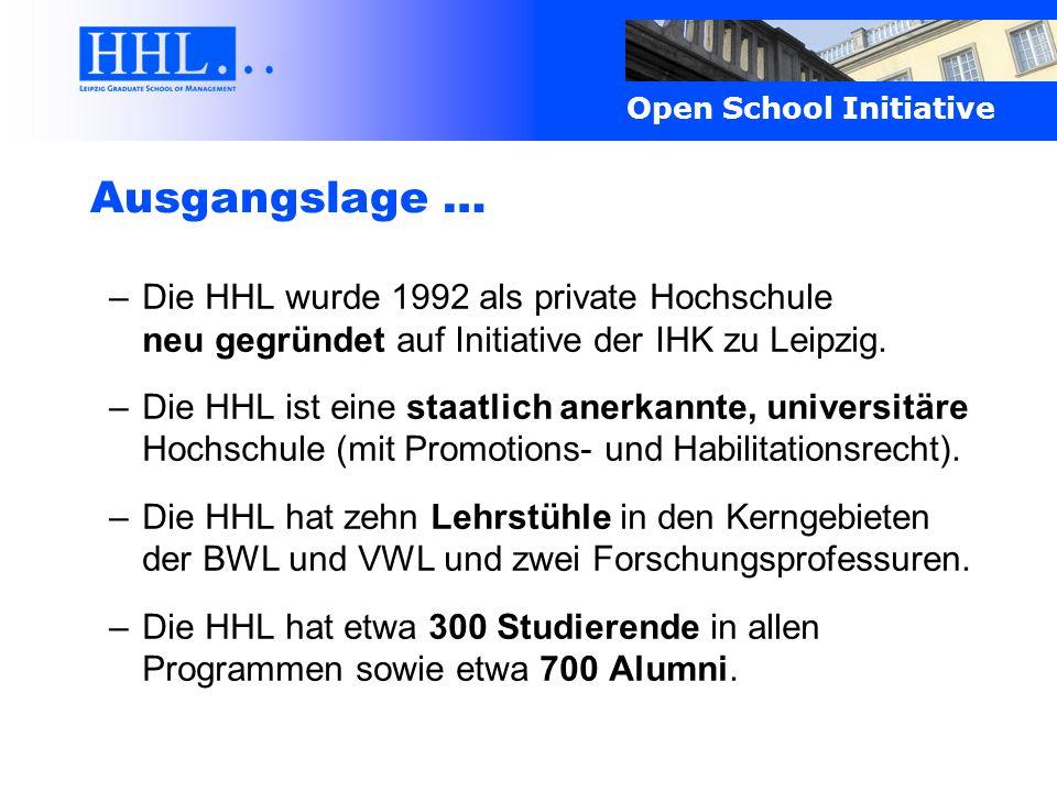 Ausgangslage … Die HHL wurde 1992 als private Hochschule neu gegründet auf Initiative der IHK zu Leipzig.