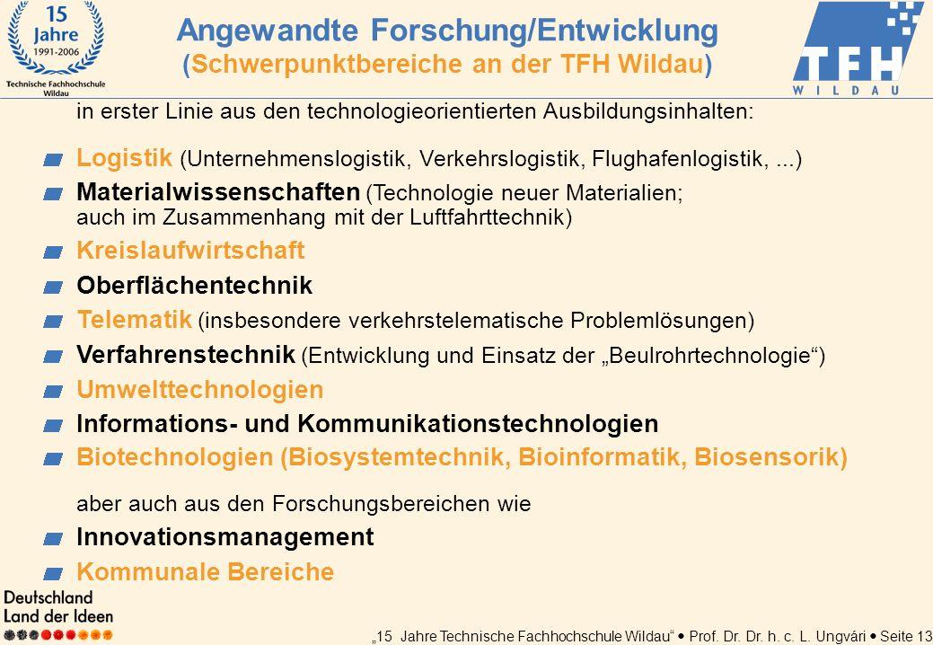 Angewandte Forschung/Entwicklung (Schwerpunktbereiche an der TFH Wildau)