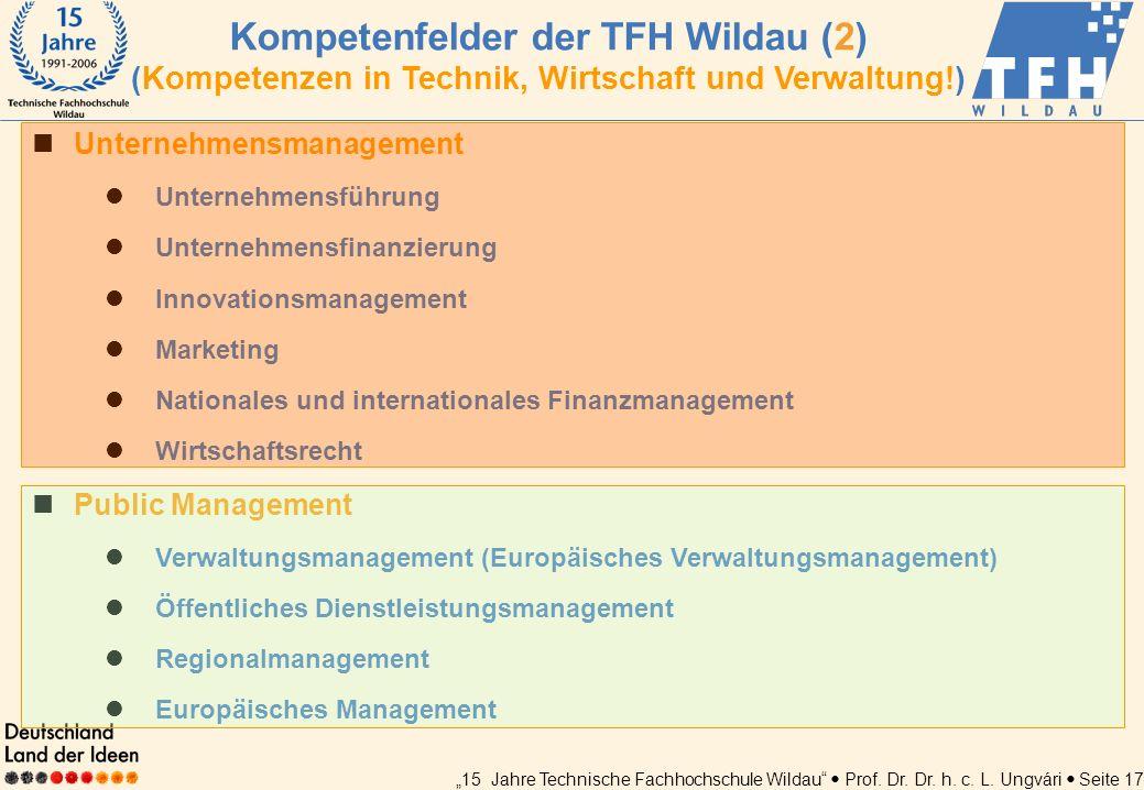 Kompetenfelder der TFH Wildau (2) (Kompetenzen in Technik, Wirtschaft und Verwaltung!)