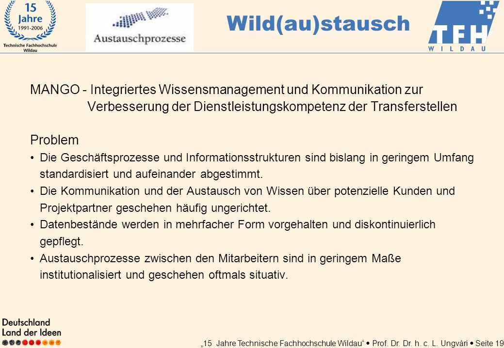 Wild(au)stausch MANGO - Integriertes Wissensmanagement und Kommunikation zur Verbesserung der Dienstleistungskompetenz der Transferstellen.