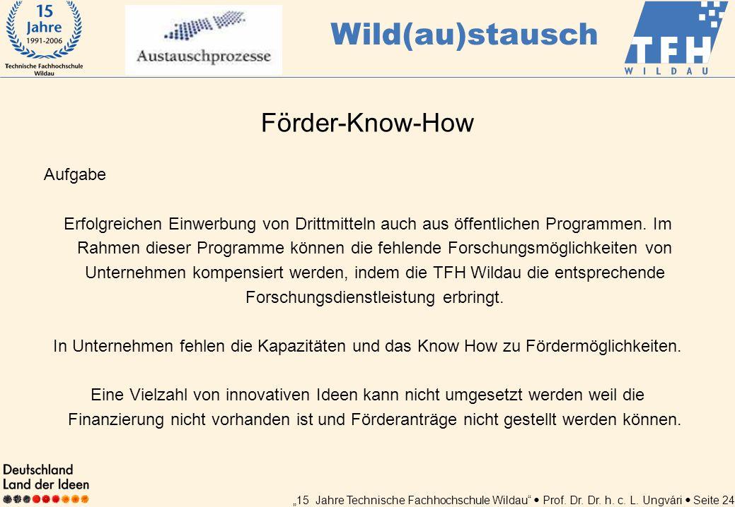 Wild(au)stausch Förder-Know-How Aufgabe