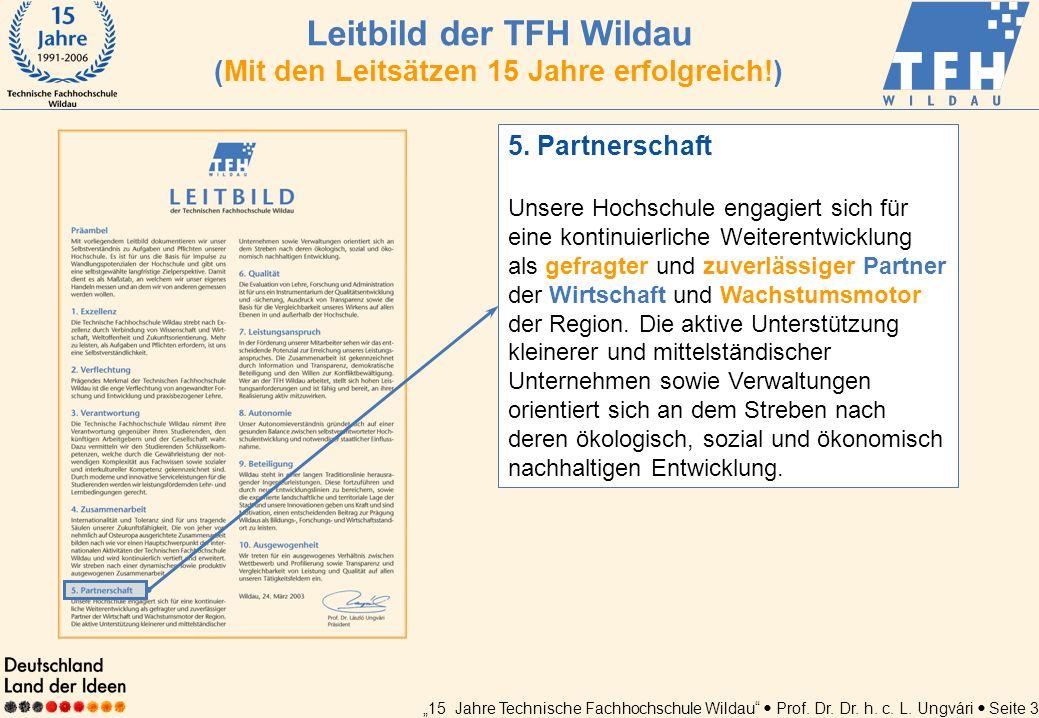 Leitbild der TFH Wildau (Mit den Leitsätzen 15 Jahre erfolgreich!)