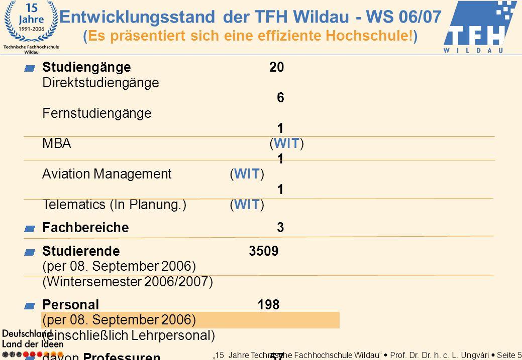 Entwicklungsstand der TFH Wildau - WS 06/07 (Es präsentiert sich eine effiziente Hochschule!)