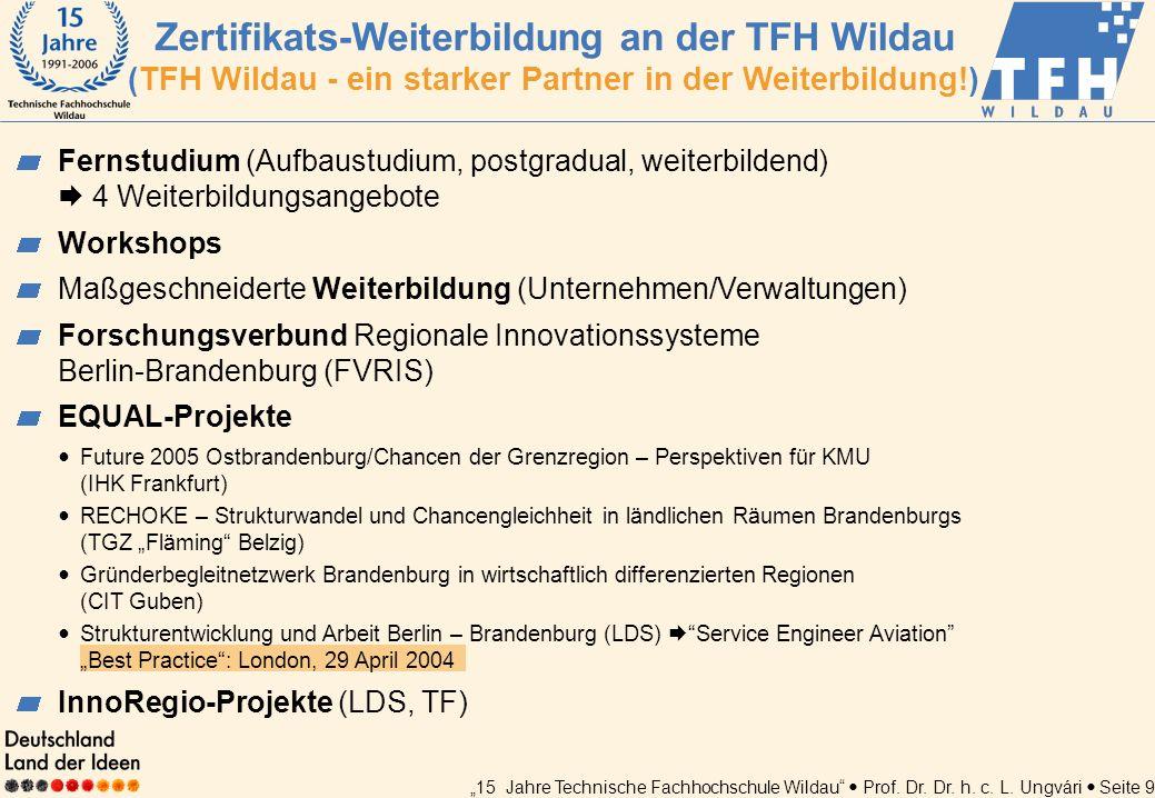 Zertifikats-Weiterbildung an der TFH Wildau (TFH Wildau - ein starker Partner in der Weiterbildung!)