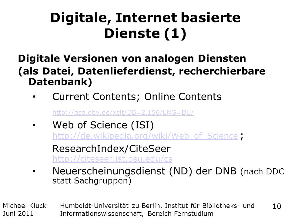 Digitale, Internet basierte Dienste (1)