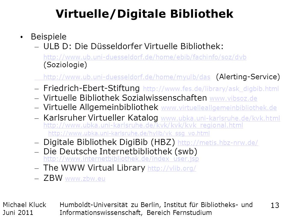 Virtuelle/Digitale Bibliothek