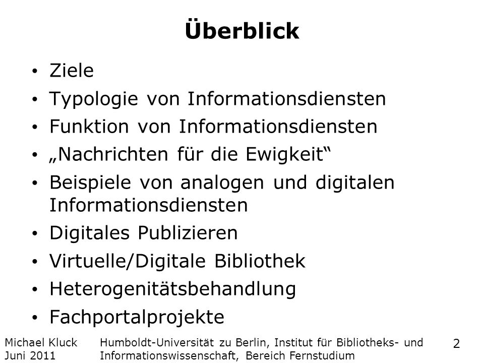Überblick Ziele Typologie von Informationsdiensten