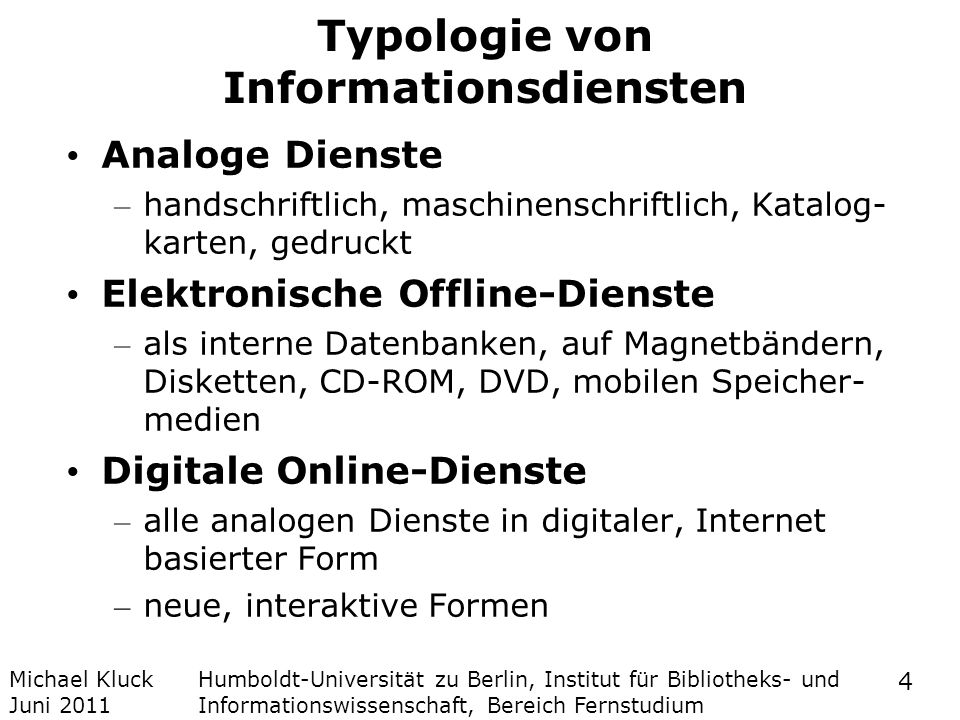 Typologie von Informationsdiensten