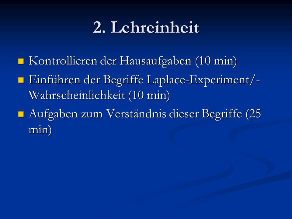 2. Lehreinheit Kontrollieren der Hausaufgaben (10 min)