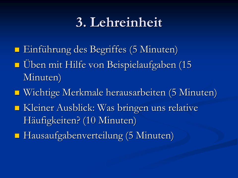 3. Lehreinheit Einführung des Begriffes (5 Minuten)