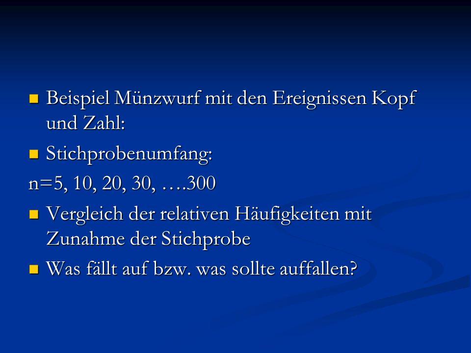 Beispiel Münzwurf mit den Ereignissen Kopf und Zahl:
