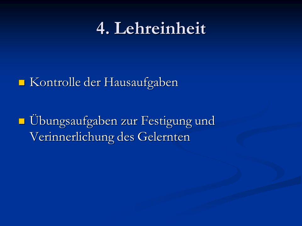 4. Lehreinheit Kontrolle der Hausaufgaben