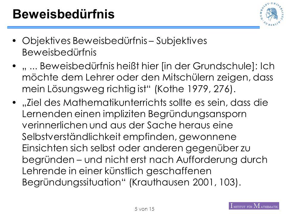 Beweisbedürfnis Objektives Beweisbedürfnis – Subjektives Beweisbedürfnis.