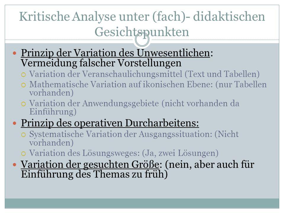 Kritische Analyse unter (fach)- didaktischen Gesichtspunkten