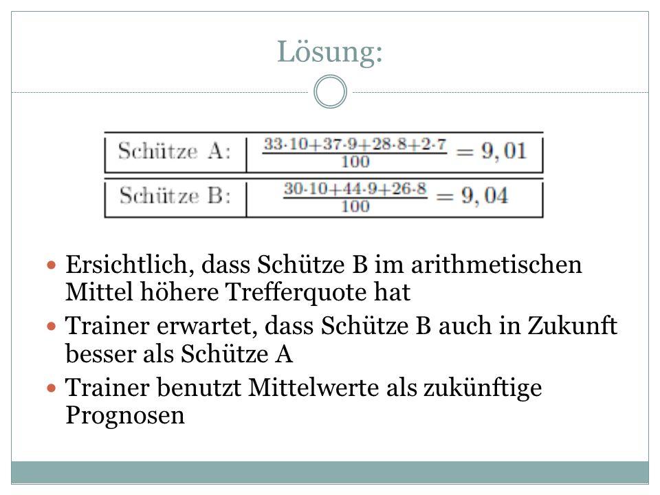 Lösung: Ersichtlich, dass Schütze B im arithmetischen Mittel höhere Trefferquote hat.