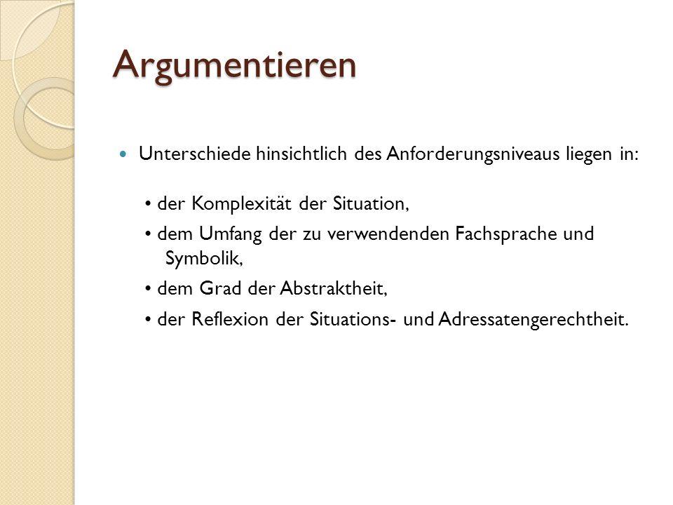 Argumentieren Unterschiede hinsichtlich des Anforderungsniveaus liegen in: • der Komplexität der Situation,