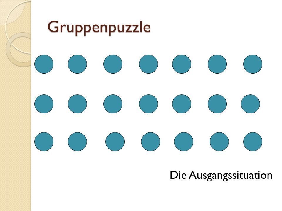 Gruppenpuzzle Die Ausgangssituation